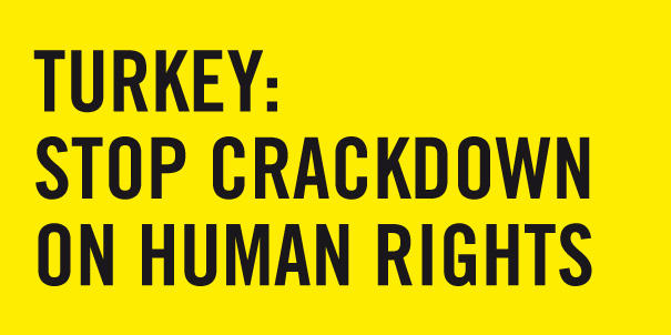 Grafik mit der Aufschrift: Turkey - Stop crackdown on human rights