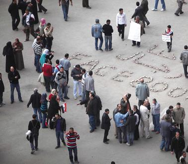 Demonstranten auf dem Tahrir-Platz in Kairo, Januar 2011