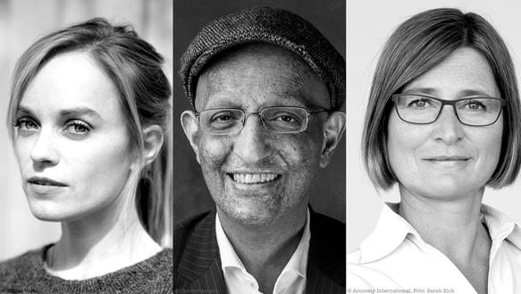 Die Amnesty-Jury auf der Berlinale 2018: Schauspielerin Friederike Kempter, Regisseur Ali Samadi Ahadi und Bettina Müller von Amnesty International in Deutschland (v.l.n.r.)