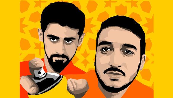 Ein animiertes Portrait der beiden Künstler Bayram Mammadov und Giyas Ibrahimov mit einer Spraydose