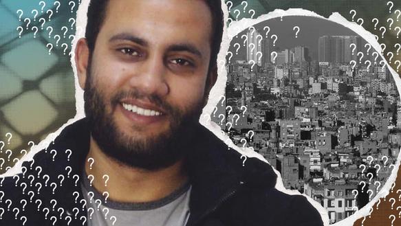 Collage mit: Junger Mann, der in die Kamera lächelt. Im Hintergrund sind Ausschnitte einer Stadt und Drahtzaun.