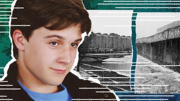 Collage mit: Porträt eines Jungen. Im Hintergrund sind Foto-Ausschnitte von einem Gefängnis.