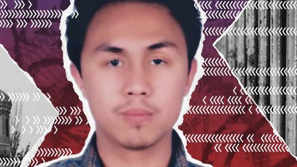 Collage mit: Porträt eines jungen Mannes. Im Hintergrund sind Foto-Ausschnitte.