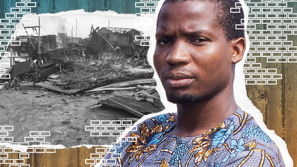 Collage mit: Porträt eines jungen Mannes. Im Hintergrund ist ein Foto von eingestürzten Gebäuden.