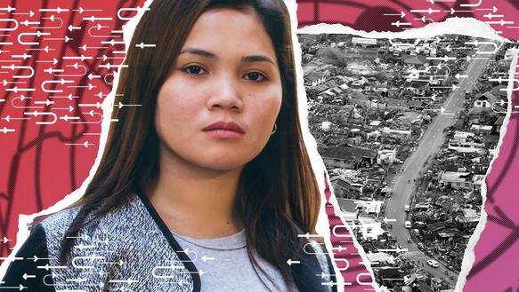 Collage mit: Porträt einer jungen Frau. Im Hintergrund ist ein Foto einer Gemeinde von oben.
