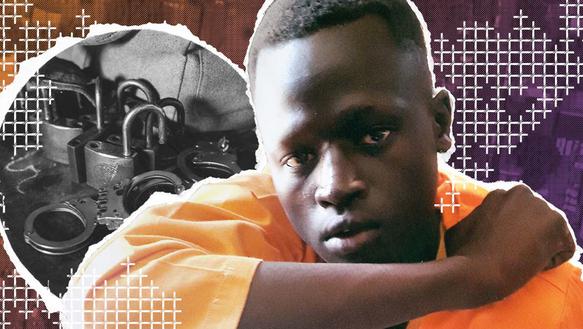 Collage mit: Porträt von einem Jungen. Im Hintergrund ist ein Foto von Handschellen.