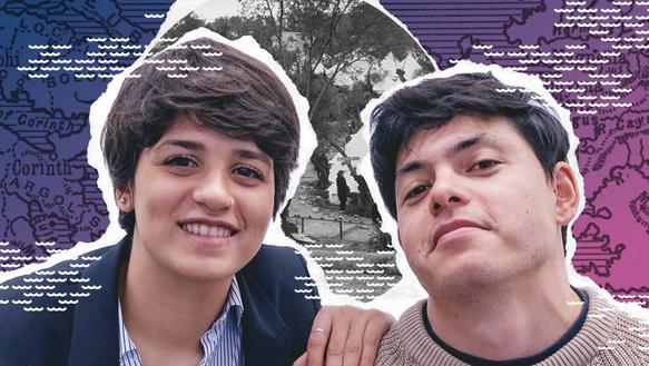 Collage: Zwei junge Menschen gucken nach vorne. Im Hintergrund sind Ausschnitte aus Fotos und Grafiken zusammengebastelt.