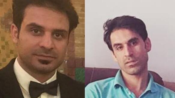 Collage aus zwei Fotos. Links ist ein Foto von Habib Afkari im Smoking und rechts daneben ist ein Foto von Vahid Afkari, der ein blaues Poloshirt trägt. Beide schauen in die Kamera.