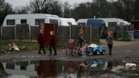 Kinder der Irish Travellers in Dale Farm in Cray's Hill, Essex