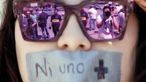 Demonstration nach dem Mord von Miroslava Breach in Ciudad Juárez, Mexiko, März 2017
