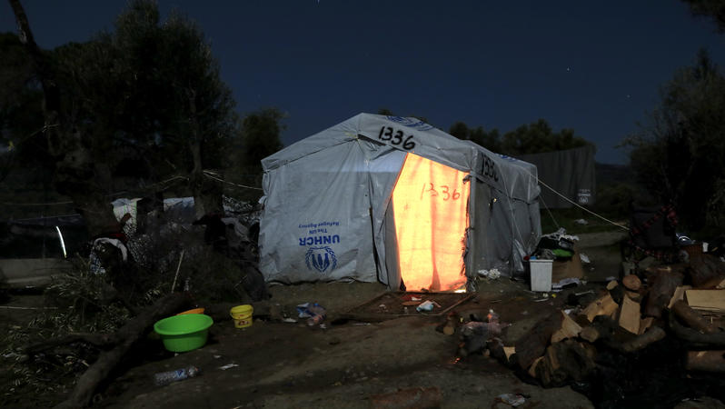 Zelt im Flüchtlingslager Moria auf der griechischen Insel Lesbos im Jahr 2018