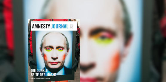 Amnesty Journal September 2013, Karikatur von Putin